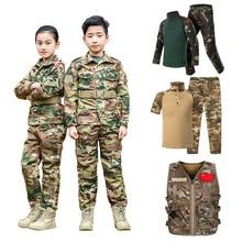 WW2 Teenager Boys Military Uniform Tactical Combat Jacket Pants Set Camouflage CP Jungle Print 2PCs Kids Special SWAT Army Suit
