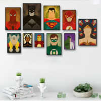 Cartoon Superhero Movie Posters Batman Spider Avenger Alliance Pictures Canvas Painting Children's room decoration Wall Art