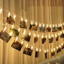 Wedding Decoration LED String Light String Battery Powered Photo Clip Lamp Fairy Garland 2M Warm White Party Christmas Tree цена и фото