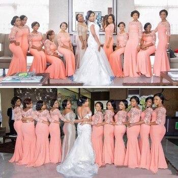 Vestido de fiesta nigeriano africano de talla grande vestidos de dama de Honor 2020 sandía superior encaje barrido tren vestidos de dama de Honor baratos