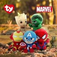 Neue 6 zoll 15 cm Ty Großen Augen Plüsch Spielzeug Spinne Mann Eisen Mann Groot Panther Sammlung Puppe Junge und mädchen Geburtstag Halloween Geschenk