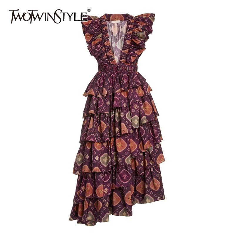 TWOTWINSTYLE Elegant Elegant Print Dresses Fenake V Neck Butterfly Short Sleeve High Waist Cascading Ruffles Summer Dress Women
