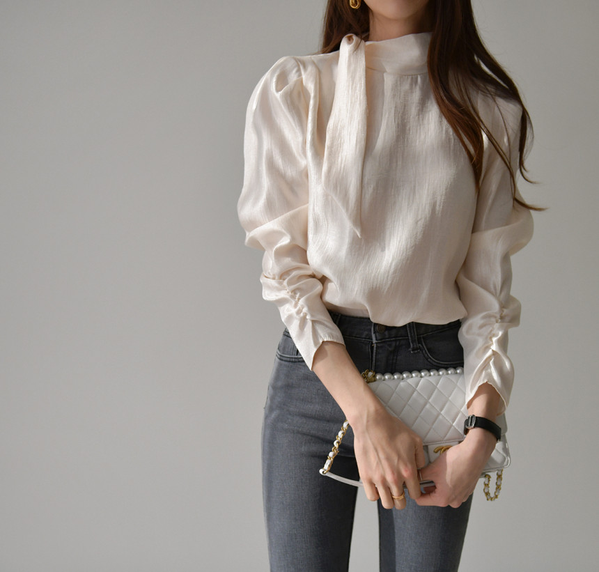 HziriP 2020 New Elegant Long Sleeve Blouse Women Shirts Stand Collar Office Lady Ladies Work Wear Womens Tops And Blouses Female
