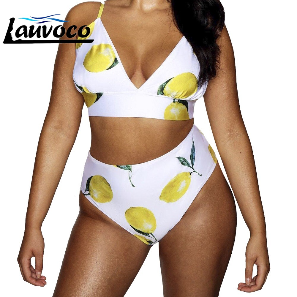 Plus Size High Waist Bikini Floral Print Bikini Set Swimwear V Neck Ladies Swimsuit Sexy Tankini Femme Swimming Suit For Women 1