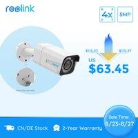 Reolink-cámara IP PoE para exteriores, 5MP, Zoom óptico 4x, ranura para tarjeta SD, Audio IP66, impermeable, RLC-511 de videovigilancia Bullet
