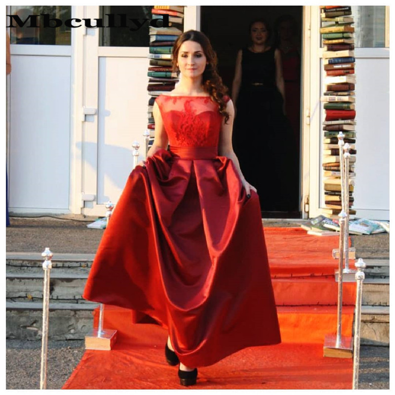 Mbcullyd Sheer Scoop Neck   Prom     Dresses   With Appliques Lace Formal Long Evening   Dress   For Women Red vestidos de fiesta de noche