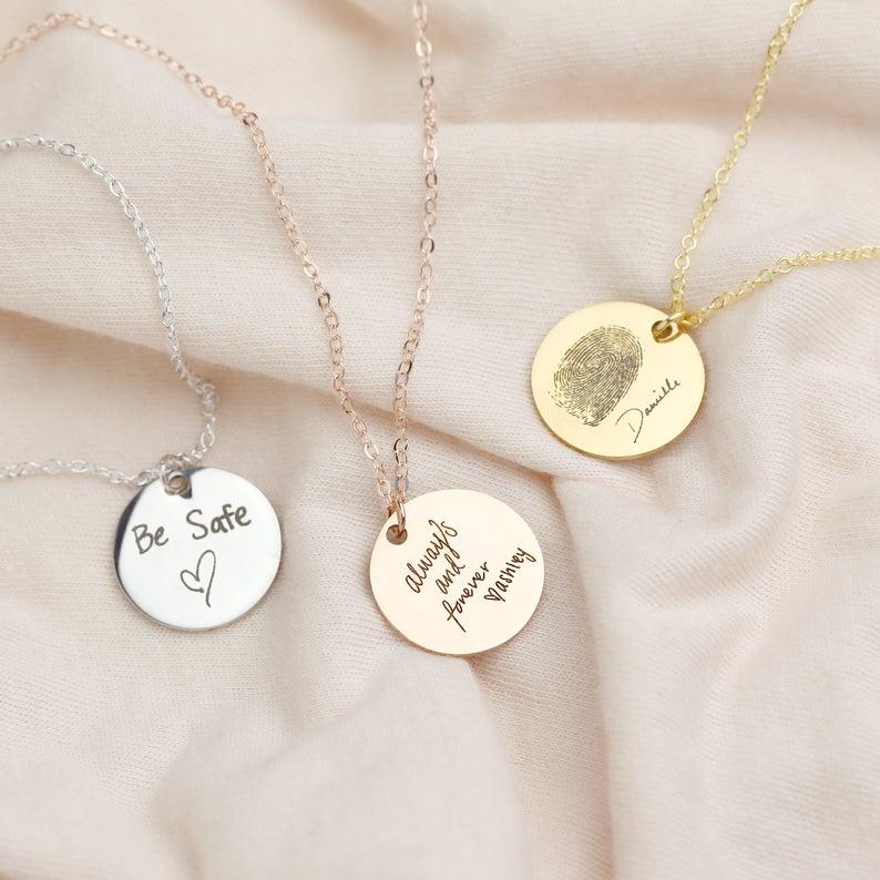 MYDIY Fingerprint Necklace Actual Handwriting Necklace Custom Handwriting Jewelry Personalized Name Necklace Wedding Gift