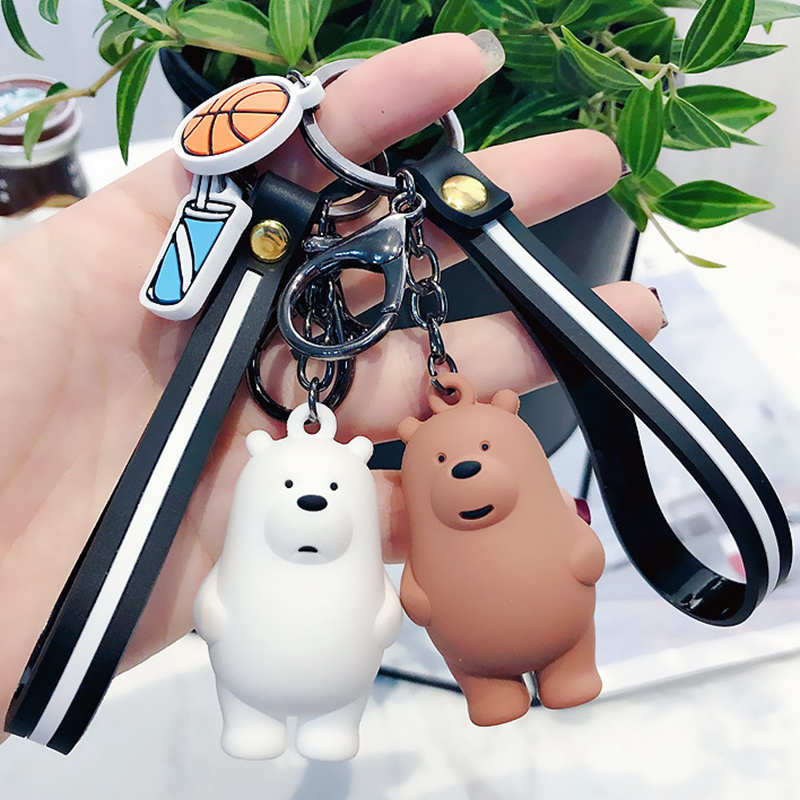 New Cartoon Anime We Bare Bears Cute Three Animal Bears Doll Keychains Women Car Bag Pendant Belt Trinkets Key Chains