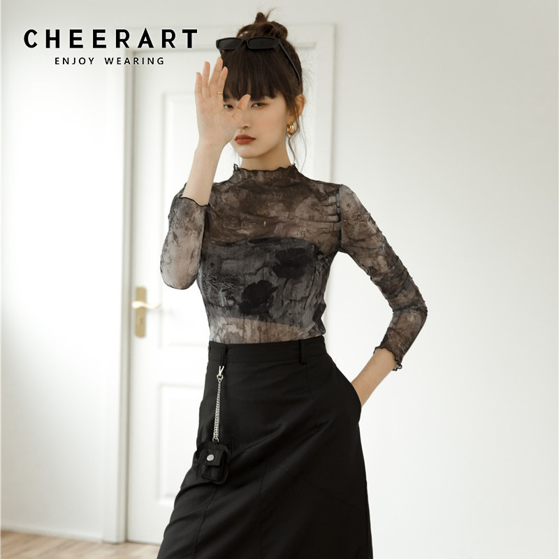 CHEERART Tulle haut Transparent à manches longues t-shirt femmes Abstraction imprimer voir à travers haut pour femme femmes 2020 vêtements