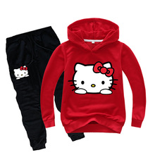 Hello Kitty Kids Girls Clothes Set Hoodie + Pants Autumn Sport Suit Outfit Birthday Costume Children Clothing Set Baby Tracksuit childrens kids hello kitty bedding sheets set