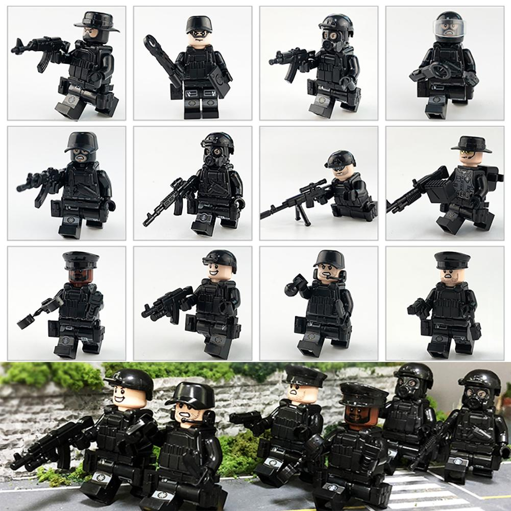 12Pcs/set Militarys Specials Forces Soldiers Brickes Figuress Guns Weapons Compatible Legoings Armed SWATes Building Blocks Toys