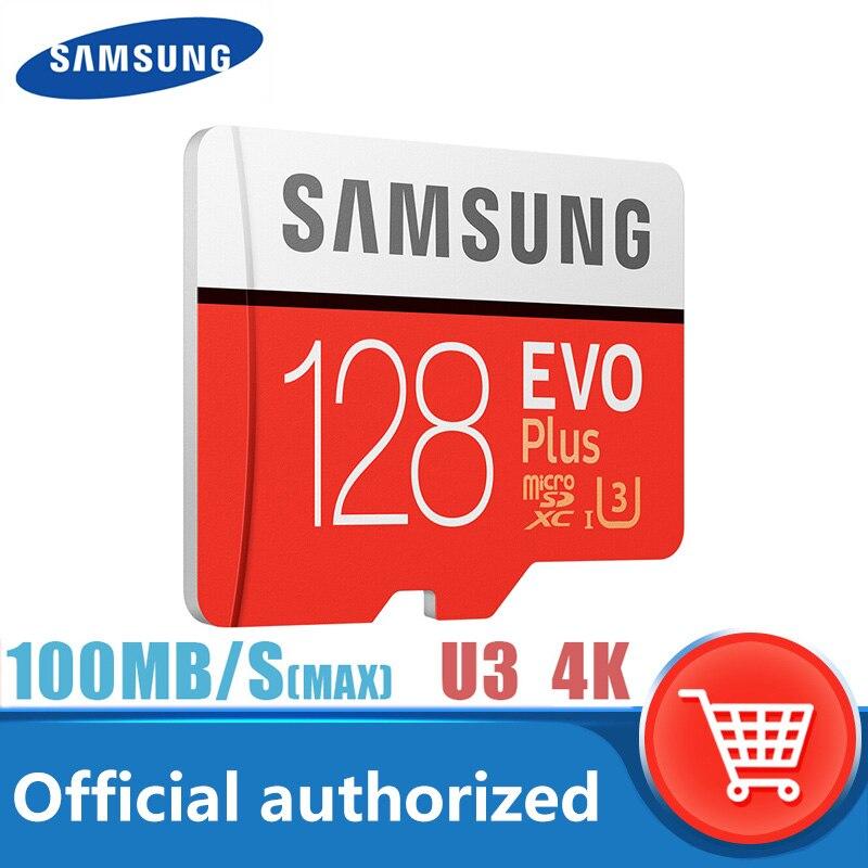 SAMSUNG EVO artı Micro SD hafıza kartı 128GB Class10 microSDXC U3 UHS-I TF kart 4K HD adaptör akıllı telefon için Tablet vb