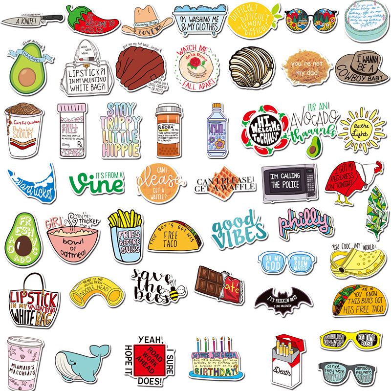 100PCS Vine Avocado Cartoon Sticker Skateboard Suitcase Snowboard Guitar Motorcycle Laptop Toys Decal Stickers Pegatina Gift