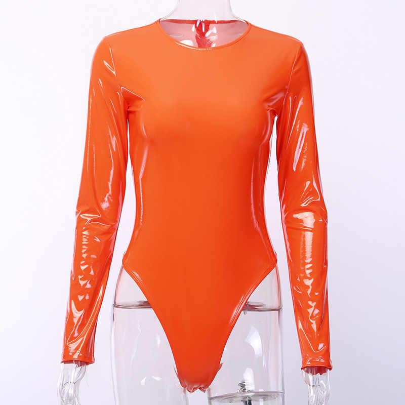 Bangniweigou Sparkle peleles de cuero mujer otoño manga larga Zip Up Skinny Pvc Bodysuit naranja leotardo club nocturno