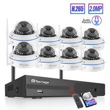 Techage 8CH ระบบกล้องวงจรปิดไร้สาย 1080P HD NVR 8PCS 2.0MP IR กลางแจ้งกันน้ำโดม WiFi Security กล้องระบบชุดการเฝ้าระวัง