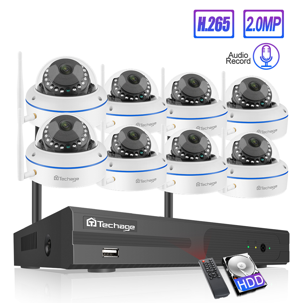 Techage 8CH CCTV System Wireless 1080P HD NVR 8PCS 2.0MP IR Outdoor Waterproof Dome Wifi Security Camera System Surveillance Kit