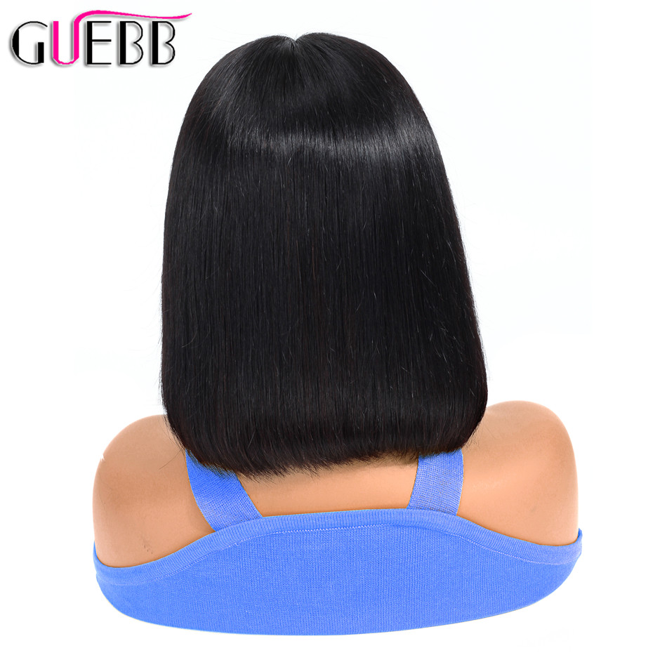 GUEBB 13 4 Lace Front Human Hair Wigs Brazilian Straight Short Bob Wigs For Black Women