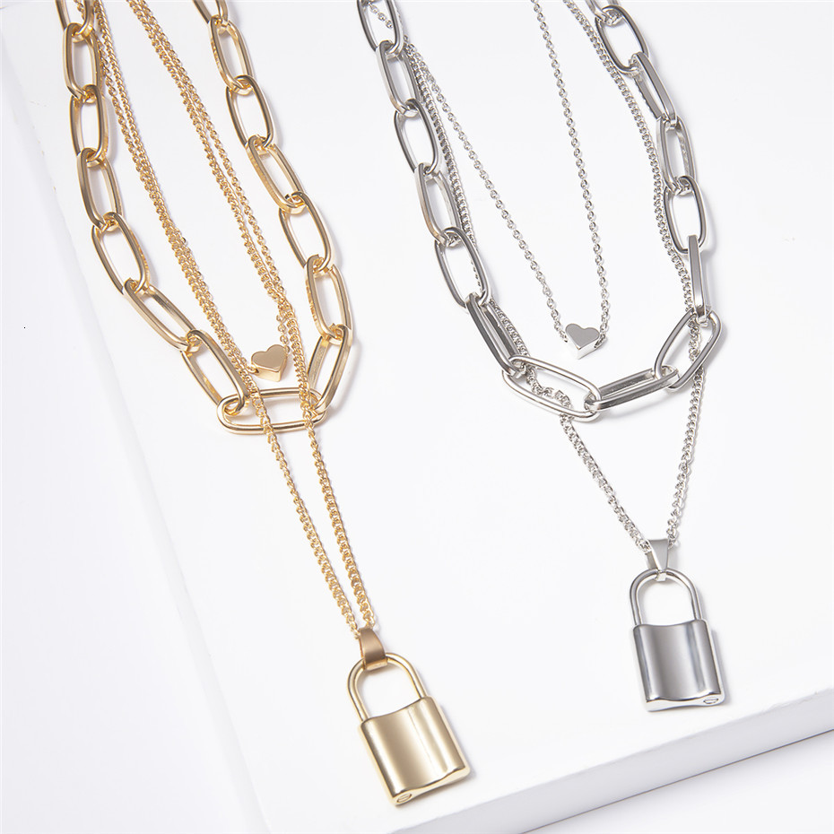 Ingemark Multi Layer Lover Lock Pendant Choker Necklace Steampunk Padlock Heart Chain Necklace Collier Best Couple Jewelry Gift 10