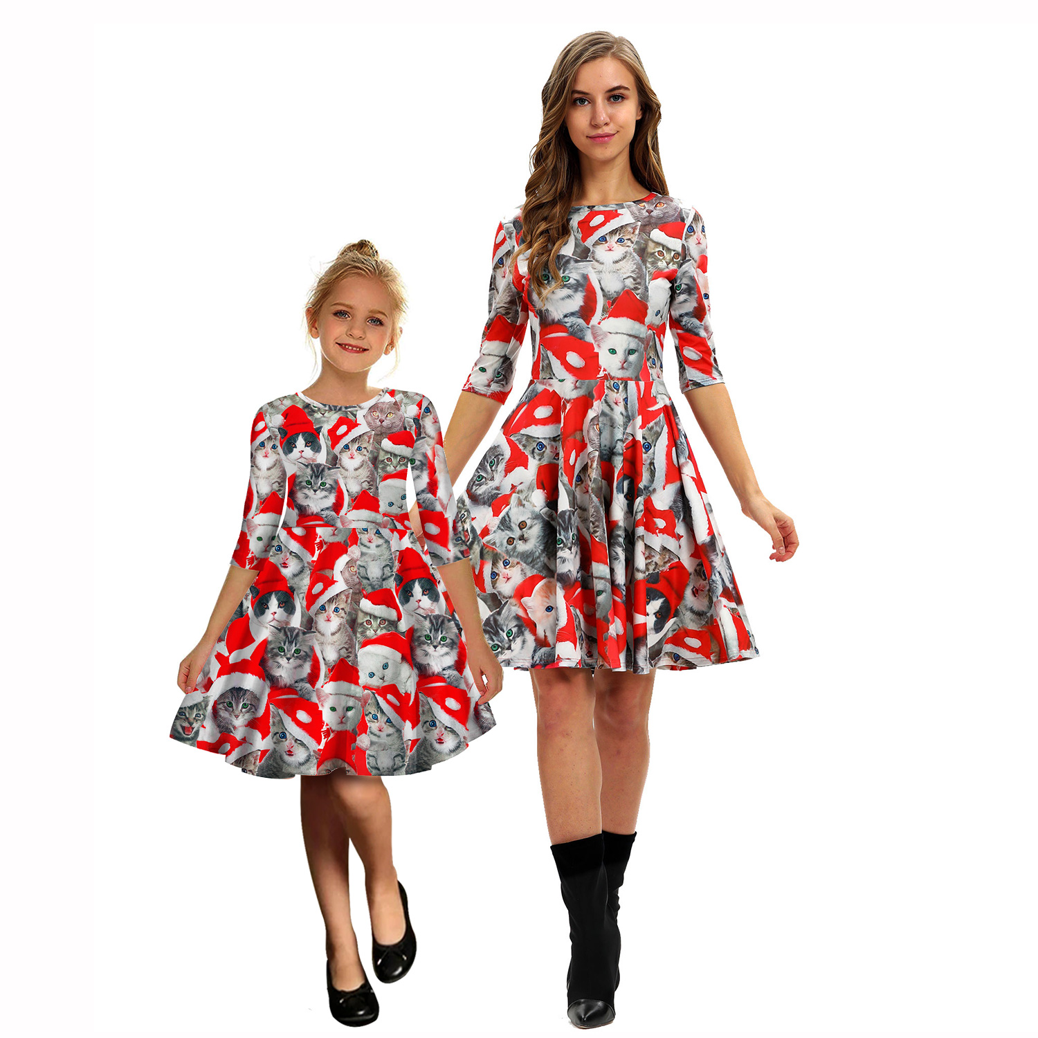 Cats Print Christmas Dress Mother Daughter Mommy And Me Clothes Family Matching Outfits Look Women Girls Mom Mum & Baby Dresses