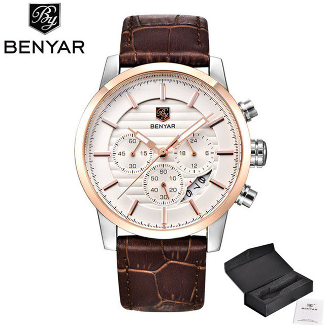 NEW <font><b>BENYAR</b></font> Men's Watches Top Brand Quartz Sport watches men fashion analog leather male waterproof wristwatch reloj hombre 2019 image