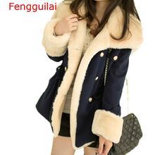 Winter Warm Coats Women Wool Slim Double Breasted Wool Coat Winter Jacket Women Fur Women 'S Coat Jackets Female