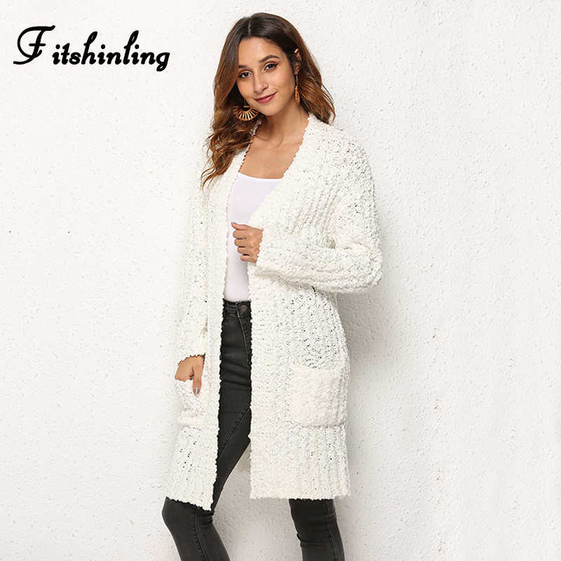 Fitshinling Boho Holiday Winter Long Cardigan Female Fashion Slim Pockets White Knitted Jackets Women Cardigans Outerwear 2019