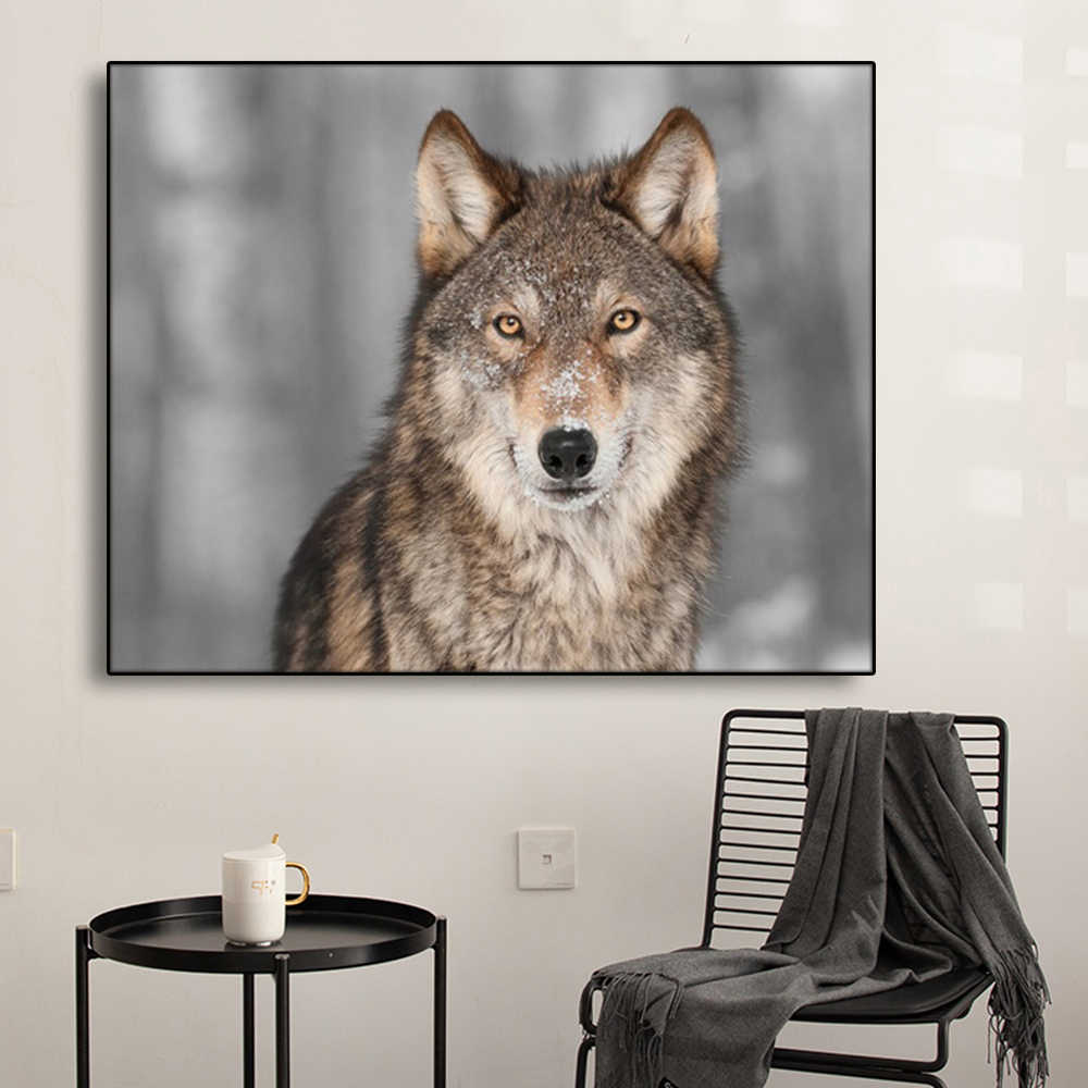 Handsome Wolf Canvas Painting Calligraphy Poster and Prints Living Room House Wall Pictures Decor Art Home Decoration Picture