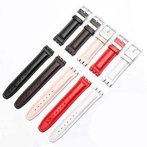 Image 5 - 17mm 19mm פרה עור להקת שעון לבן שחור חום אדום ורוד צמיד החלפת רצועת Fit דוגמית YCS YAS YGS