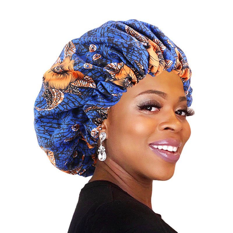 Wide Band Printed Turban Elastic Comfortable Extra Large Satin Lined Bonnets Pattern Print Fabric Ankara Bonnets Sleep Cap