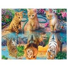5D Diamond Painting Cat Tiger Lion Leopard Round Embroidery Landscape Mosaic Animals Art