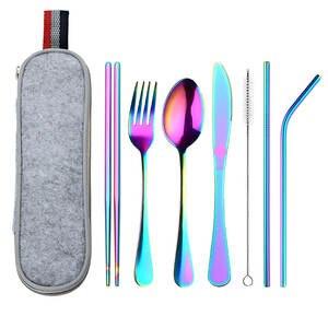 Tableware Chopstick-Bag Dinnerware-Set Rainbow Travel Stainless-Steel Camping with Straw-Kit