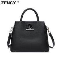 ZENCY Luxury 100% Genuine Cow Leather OL Handle Bags Women Messenger Cross Body Shoulder Cross Body Bag Top Cowhide Handbag