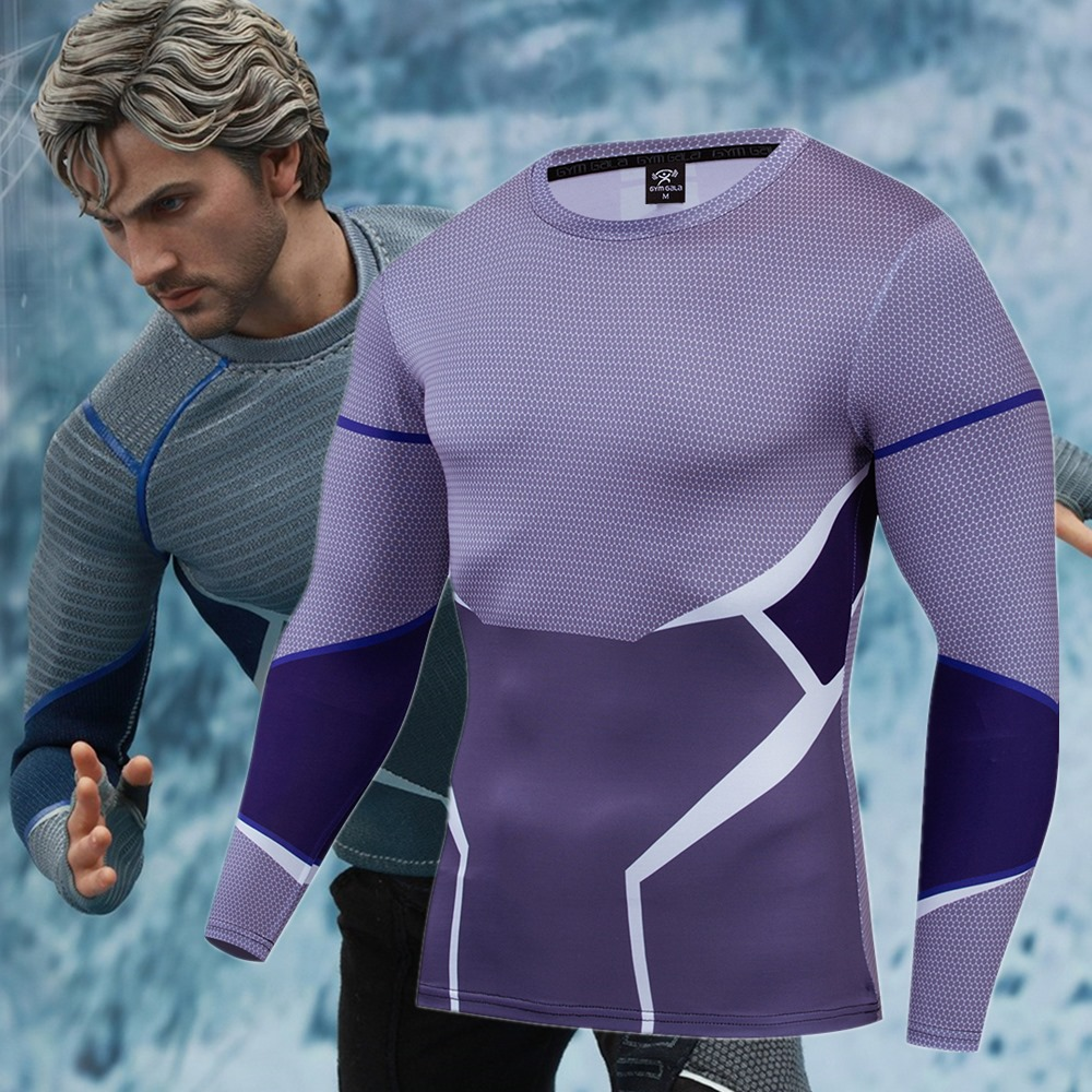 2019 Age Of Ultron Quicksilver Cosplay Costume Premium 3D Printed Costume Compression T-shirt Finess Gym Quick-Drying Tight Tops