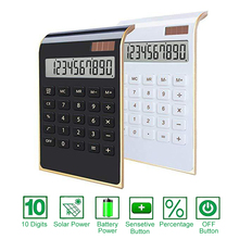 10 Digits Large LCD Display Desktop Calculator Ultra-thin Solar Energy & Button Battery Dual Power Basic Counter for Home Office