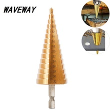 цена на HSS 4-32MM 4241 Hex Shank Tapered Titanium Step Stepped Cone Drill Bit Metal Hole Cutter Mini Drill Power Tools Accessories