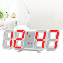 Large Digital LED Alarm Clock 12/24 Hour 3D Display Desktop Wall Mounted Durable(China)