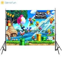 Buy Sensfun Custom Vinyl Photography Backdrops Super Marios Run Game Photographic Backdrop Children Birthday Party Banner photocall directly from merchant!