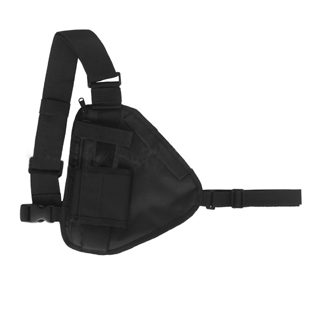 Military Adjustable Strap Tactic Outdoor Polyester Wearable Practical Chest Durable Sports Triangle Walkie Talkie Bag Black