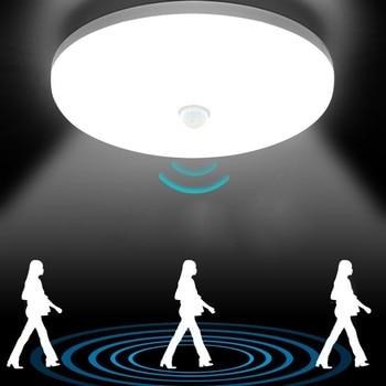 PIR Motion Sensor LED Ceiling Lamp 9W 13W 18W 24W 36W AC85-265V 110V 220V Ultra Thin Modern Lamp For Hallways Corridor Stairways