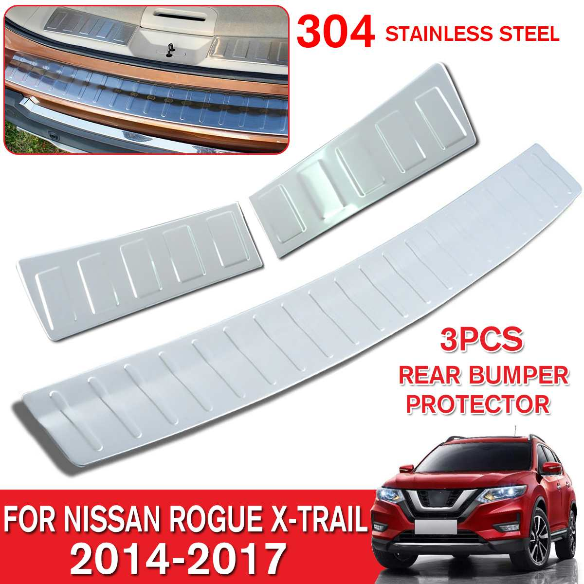 Stainless Rear Bumper Protector Guard Cover For Nissan Rogue X-trail 2014-2017
