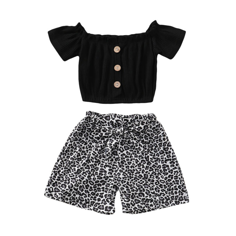 US $5.83 13% OFF|2PCS Baby Girls set Newborn Kids short sleeve black Off Shoulder button crop Top Leopard bow Shorts Pants summer Outfit