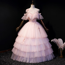 pink cake ruffled embroidery lace ball gown medieval dress Renaissance gown queen Victorian Gothic/Marie Antoinette/ Belle Ball(China)