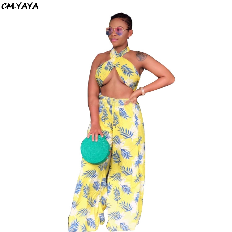 2019 Women Summer Leaf Print Halter Neck Crop Top Loose Pants Suit Two Piece Set Beach Sexy Club Night Tracksuit Outfit DF0658