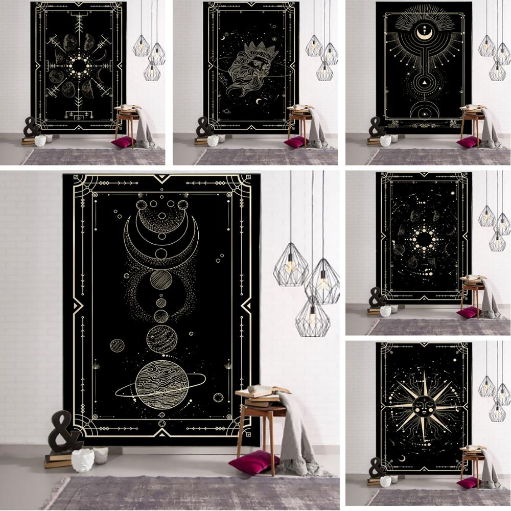 Witchcraft Tarot Tapestry Wall Hanging Black Khaki Sun Moon Starry Universe Geometric Pattern Dormitory Home Decoration Curtains