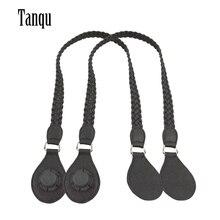TANQU 1 쌍 긴 짧은 가죽 PU 직조 핸들 Obag 여성 가방 어깨 가방에 대 한 클래식 미니 O 가방에 대 한 눈물 드롭 끝