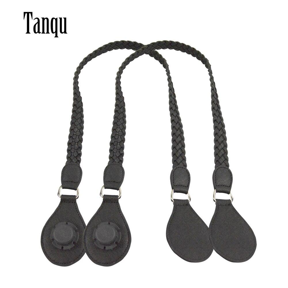 TANQU 1 Pair Long Short Leather PU Weave Handles With Tear Drop End For Classic Mini O Bag For Obag Women Bag Shoulder Bag