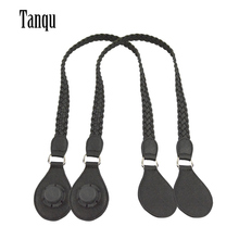Tanqu 1 ペアロングショート革pu織りハンドルと涙の最終古典的なミニoのためobag女性バッグショルダーバッグ