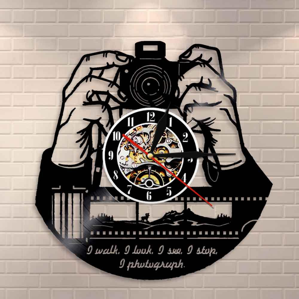 Hands On Camera Photo Camera Wall Clock Photographers Vinyl Record Wall Clock Photography Studio Logo Cameraman Shutterbugs Gift
