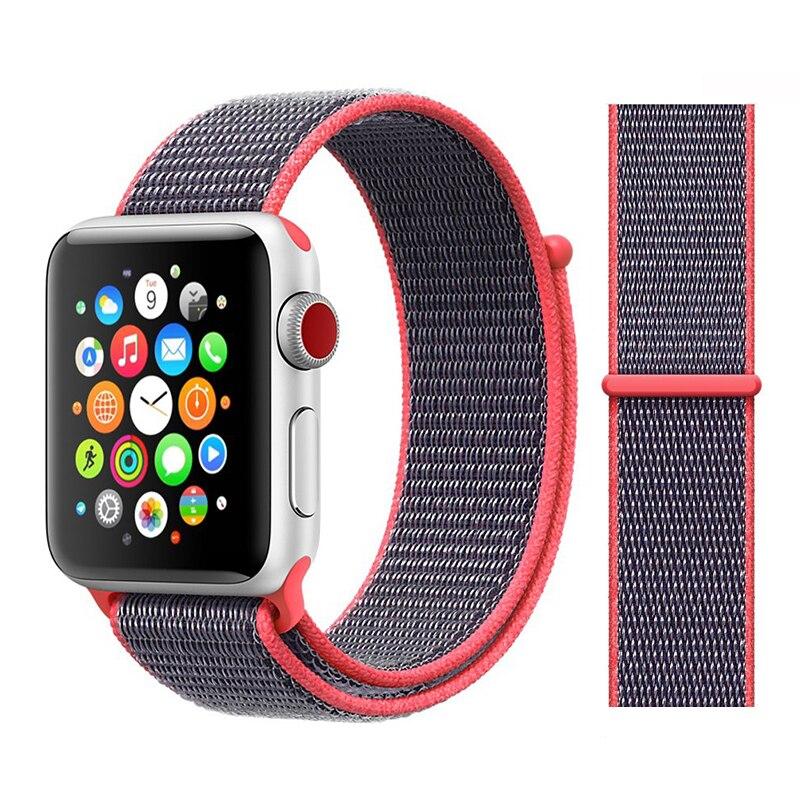 Для наручных часов Apple Watch, версии 3/2/1 38 мм 42 мм нейлон мягкий дышащий нейлон для наручных часов iWatch, сменный ремешок спортивный бесшовный series4/5 40 мм 44 мм - Цвет ремешка: Color3 Electric Pink