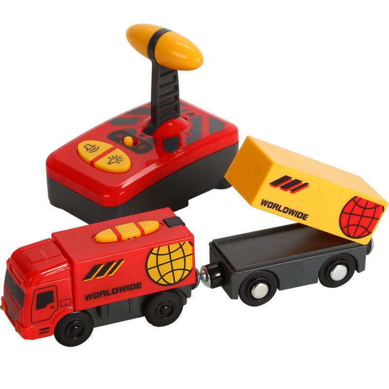 Doki Toy Remote Control RC Electric Train Toys Set Kid Slot Car Connected with Wooden Railway Track Present for Children 2021